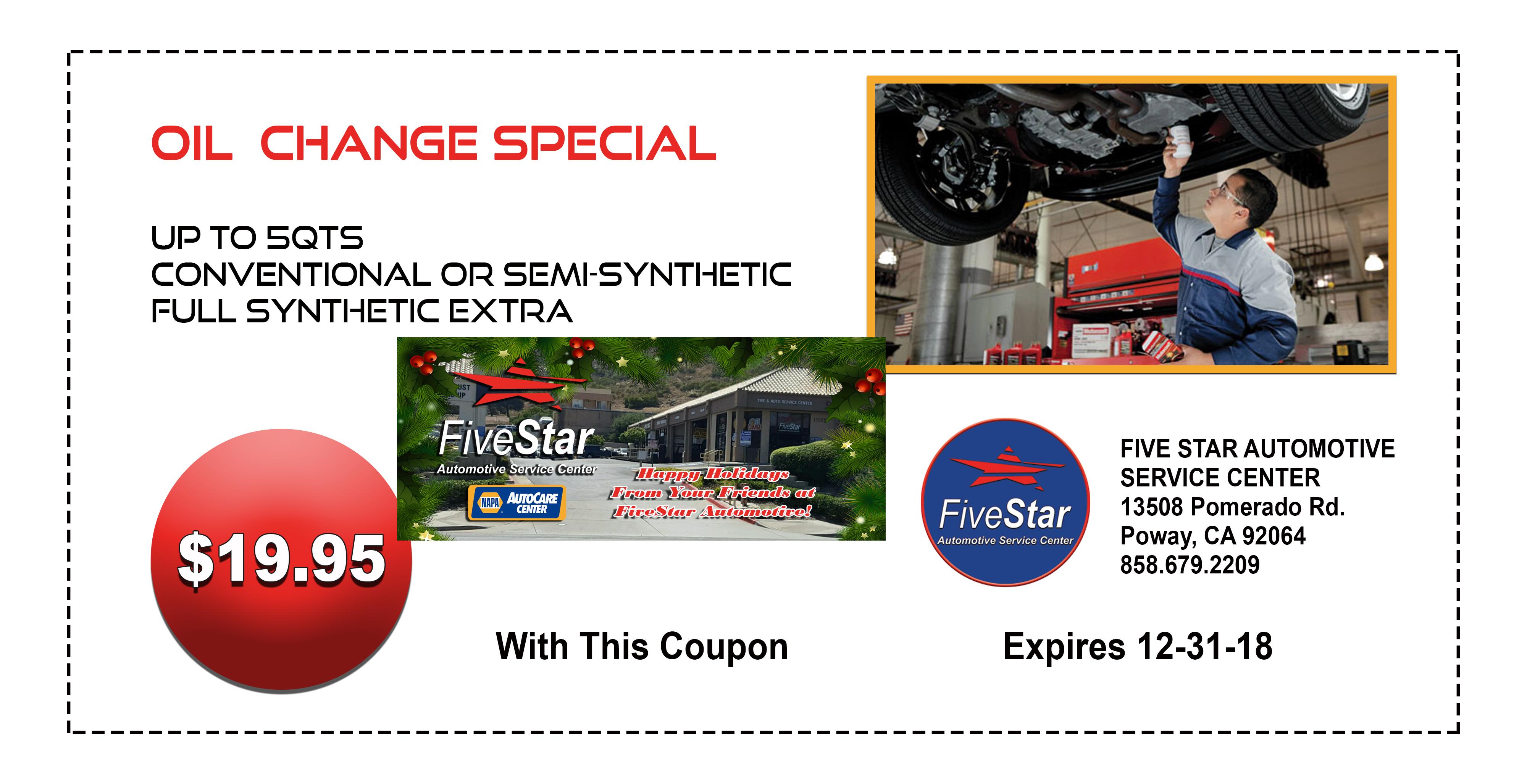 Five Star Automotive >> Monthly Special 2 Five Star Automotive Napa Service Center